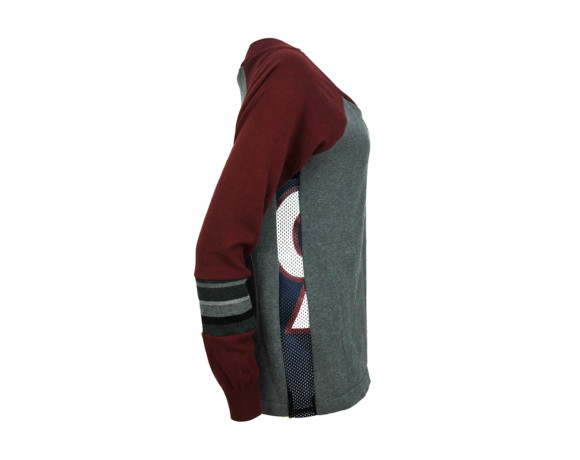 Maroon sleeve soft raglan sweater with mesh side panels. Size large.