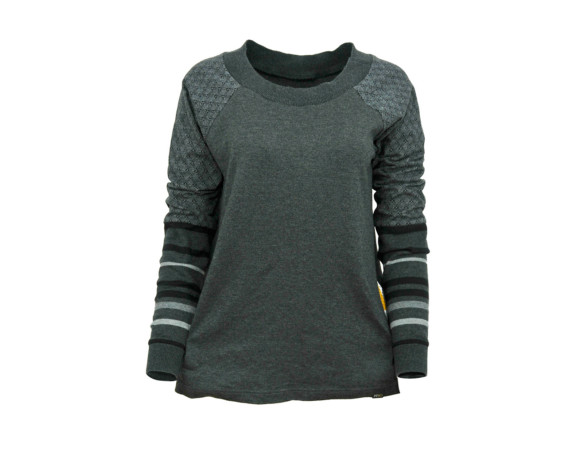 (SOLD) Lucky 7 diamond gray striped sleeve soft raglan sweater with mesh side panels. Size large.