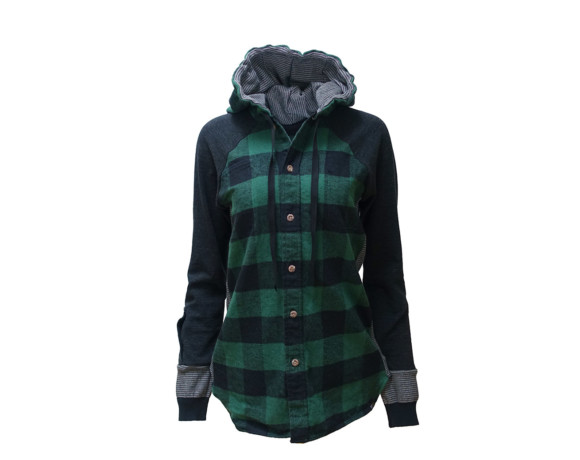 (SOLD) Heavyweight buffalo plaid flannel hoodie/button down shirt hybrid with side panels. Size large.