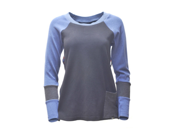Blue and black soft raglan shirt with front pocket and mesh side panels. Size medium.