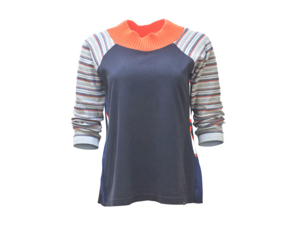 (SOLD) Bold orange collar with striped 3/4 sleeve soft raglan sweater with mesh side panels. Size medium.