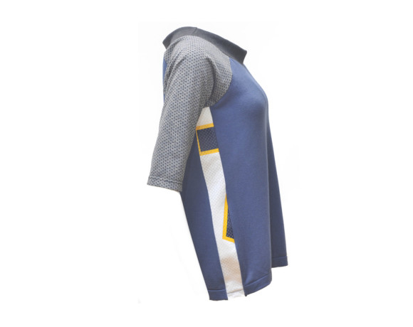 Blue and gray 3/4 sleeve silky raglan shirt with mesh side panels. Size medium.