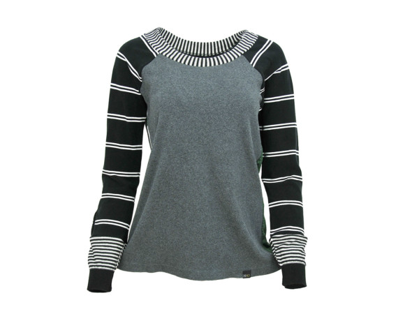 (SOLD) Gray and zebra striped soft raglan sweater with mesh side panels. Size medium.
