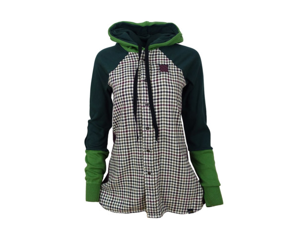 (SOLD) Heavyweight houndstooth hoodie/button down shirt hybrid with side panels. Size medium.
