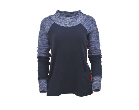 (SOLD) Blue variegated sleeve soft raglan sweater with mesh side panels. Size medium.