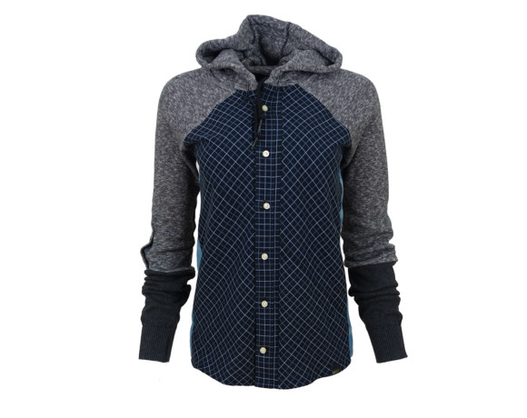 (SOLD) Gray and blue hoodie/bias cut button down shirt hybrid with side panels. Size small.