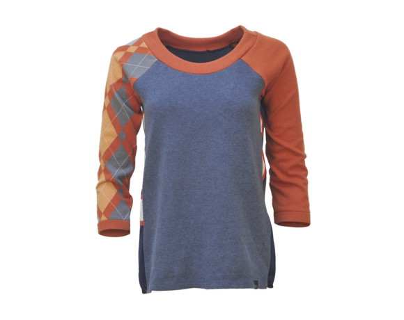 (SOLD) Orange and blue 3/4 sleeve argyle soft raglan sweater with mesh side panels. Size small.
