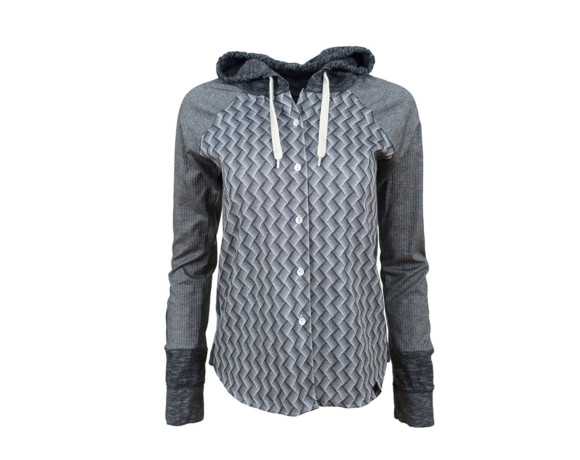(SOLD) Lightweight silver patterned hoodie/button down shirt hybrid with side panels. Size small.